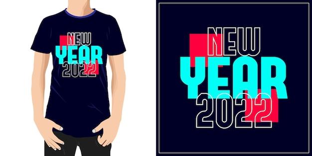 Nowy rok 2022 projekt typografii gotowy na etykietę kubka tshirt lub druk premium wektor