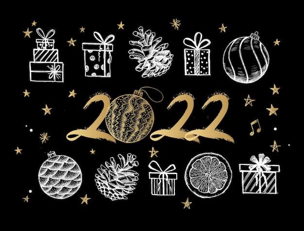 Nowy rok 2022 zestaw pudełek na prezenty ręcznie rysowane ilustracji