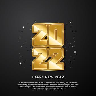 Nowy rok 2022 złote i czarne kolory. ilustracja wektorowa szczęśliwego nowego roku