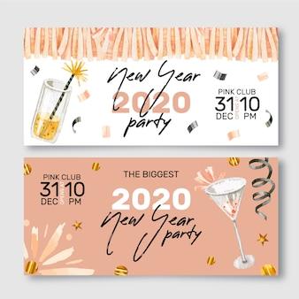 Nowy rok akwarela party banery