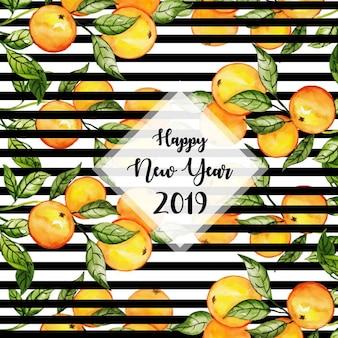 Nowy Rok Akwarela taśmy tło