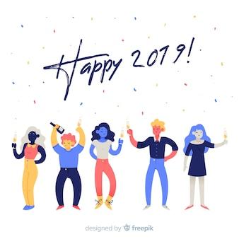 Nowy rok bawi się ludzi tła