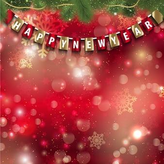 Nowy rok bokeh wianek na czerwonym tle