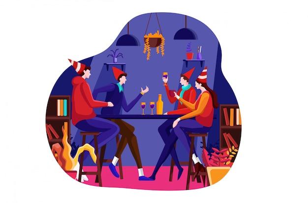 Nowy rok celebracja płaski ilustracja