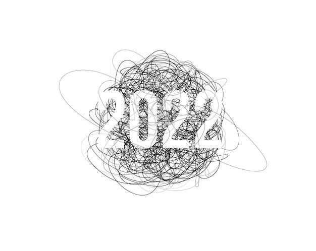 Nowy rok chaos narysowany ołówkiem wątek bazgroły rysowanie linii clew tło z liczbami kreatywnymi