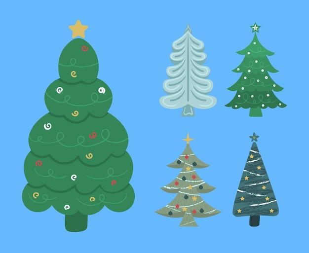 Nowy rok choinka z girlandami żarówka gwiazda boże narodzenie sosny zimowe wakacje płaska konstrukcja