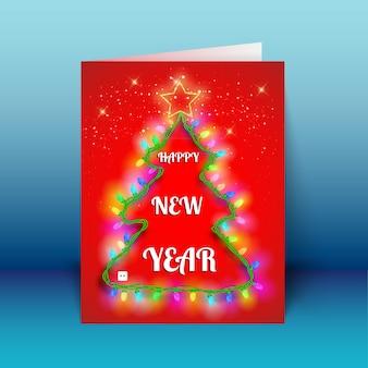 Nowy rok czerwoną kartkę z życzeniami z lekką girlandą w kształcie choinki na niebieskim tle ilustracji wektorowych