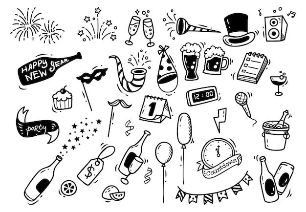 Nowy rok doodle odizolowywający na białym tle