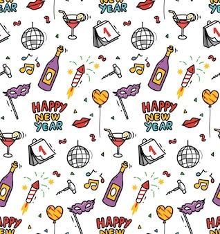 Nowy rok doodle wzór