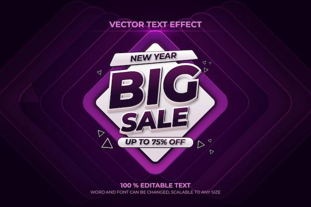 Nowy rok duża wyprzedaż edytowalny efekt tekstowy 3d z fioletowym stylem backround