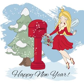 Nowy rok fairy wesołych świąt bożego narodzenia ilustracji