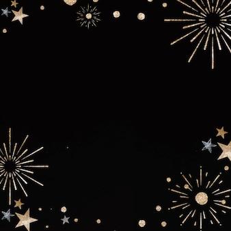Nowy rok fajerwerk wektor świąteczna rama czarne tło