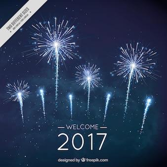 Nowy rok fajerwerki tło w kolorze ciemnoniebieskim