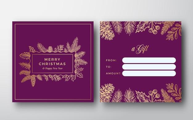 Nowy rok i boże narodzenie streszczenie wektor pozdrowienie karta podarunkowa tło tył i przód zaprojektuj układ z...