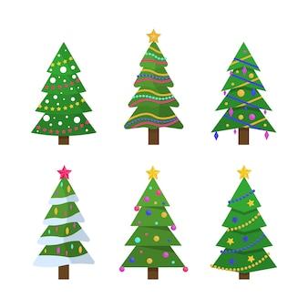 Nowy rok i boże narodzenie tradycyjne drzewo symbol z girlandami, żarówką, gwiazdą. kolekcja choinek w płaskiej konstrukcji.