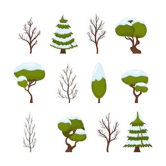 Nowy rok i boże narodzenie tradycyjny symbol zimowego drzewa w śniegu i czyste. boże narodzenie zestaw zielonych drzew na białym tle. styl kreskówki.