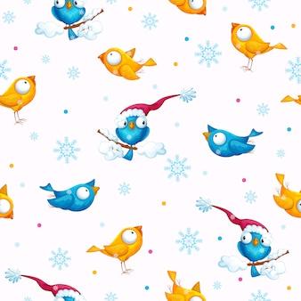 Nowy rok i święta śmieszne ptaki wzór