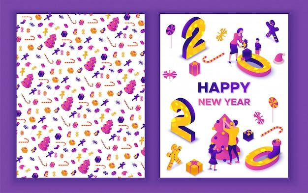 Nowy rok izometryczny kartkę z życzeniami