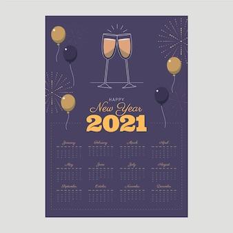 Nowy rok kalendarzowy 2021 w płaskiej konstrukcji