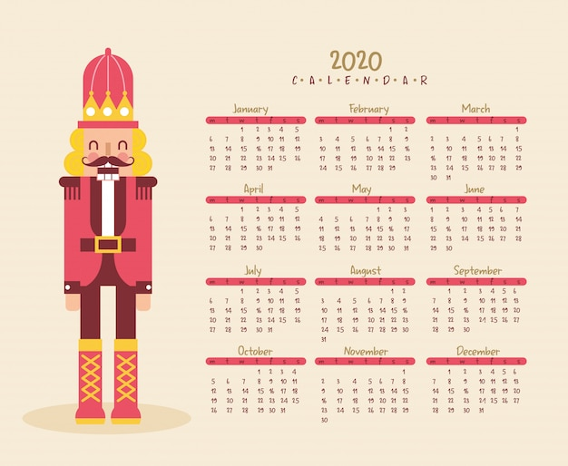 Nowy rok kalendarzowy z dziadkiem do orzechów.