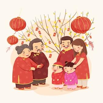 Nowy Rok Księżycowy tradycyjnej rodziny