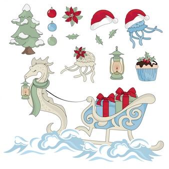 Nowy rok morski koń noworoczny kolor