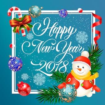 Nowy rok napis z bałwana
