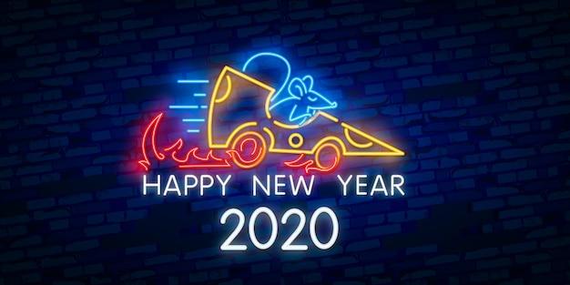 Nowy rok neonowy znak. kawałek sera z dwoma tysiącami dwudziestu liczb i szczur na tle cegły. wektorowa ilustracja w neonowym stylu