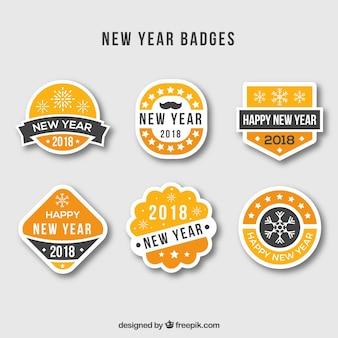 Nowy rok odznaki w kolorze żółtym, pomarańczowym i szarym