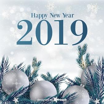 Nowy rok ozdoba srebrny tło
