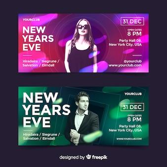 Nowy rok party banery ze zdjęciem