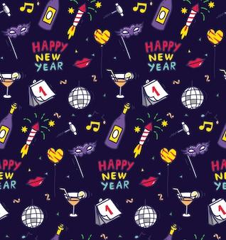 Nowy rok party doodle bezszwowe tło