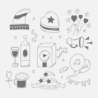 Nowy rok party doodle ikona w ręcznie rysowane