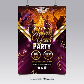 Nowy rok party plakat 2019