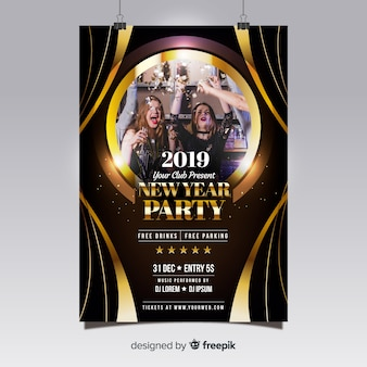 Nowy rok party plakat fotograficzny