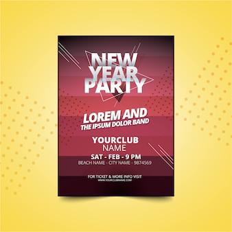 Nowy rok party plakat lub szablon zaproszenia ulotki