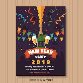 Nowy rok party plakat płaski