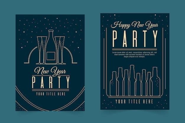 Nowy rok party plakat szablon w stylu konspektu