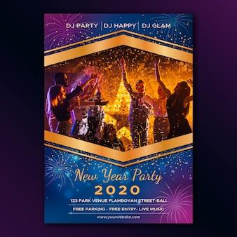 Nowy rok party plakat szablon ze zdjęciem