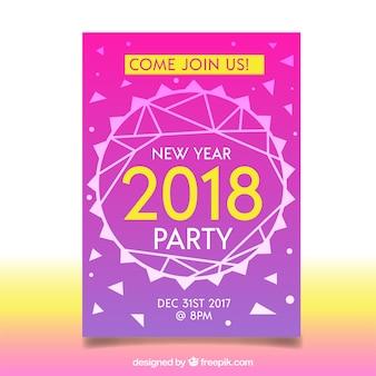 Nowy rok party plakat w kolorze różowym z żółtymi elementami