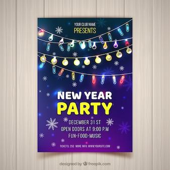Nowy Rok Party Plakat Z Realistycznymi Struny światła Darmowych Wektorów