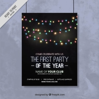 Nowy rok party plakat ze światłami smyczkowych