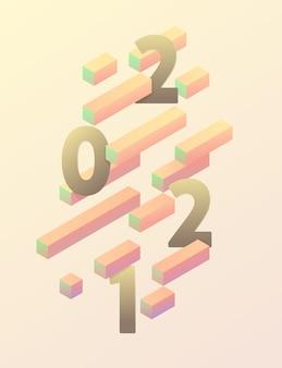 Nowy rok plakat 2021. kolorowy element projektu izometryczny.