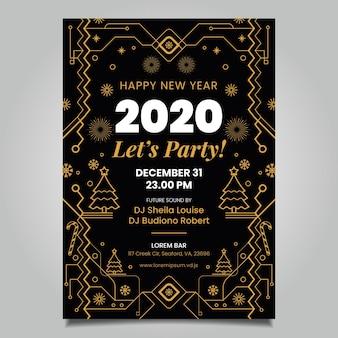 Nowy rok plakat szablon styl konturu