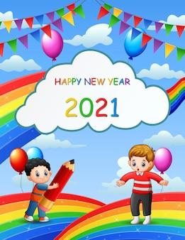 Nowy rok projekt karty z dziećmi na tle błękitnego nieba