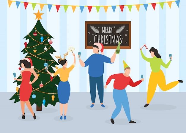 Nowy rok, przyjęcie świąteczne, tańczący ludzie, koledzy lub przyjaciele