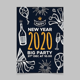 Nowy rok ręcznie rysowane strony szablon ulotki