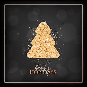 Nowy rok sezon świąteczny, wesołe kartki świąteczne ze złotą błyszczącą jodłą i typografią wesołych świąt. uroczysty projekt ze świerkiem na czarnym niewyraźne tło ze złotą ramą. ilustracja wektorowa