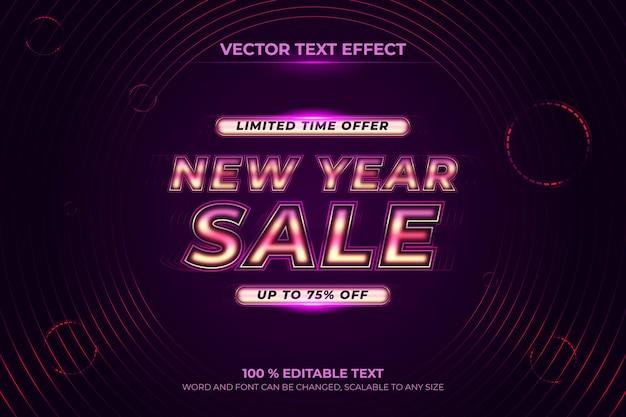 Nowy rok sprzedaży edytowalny efekt tekstowy 3d z fioletowym stylem backround