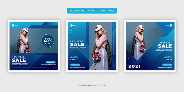 Nowy rok sprzedaży mody baner social media instagram post zestaw szablonu